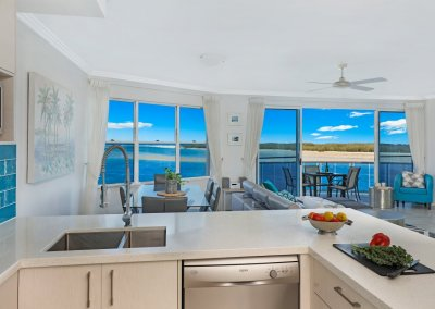 Kitchen with absolute waterfront view