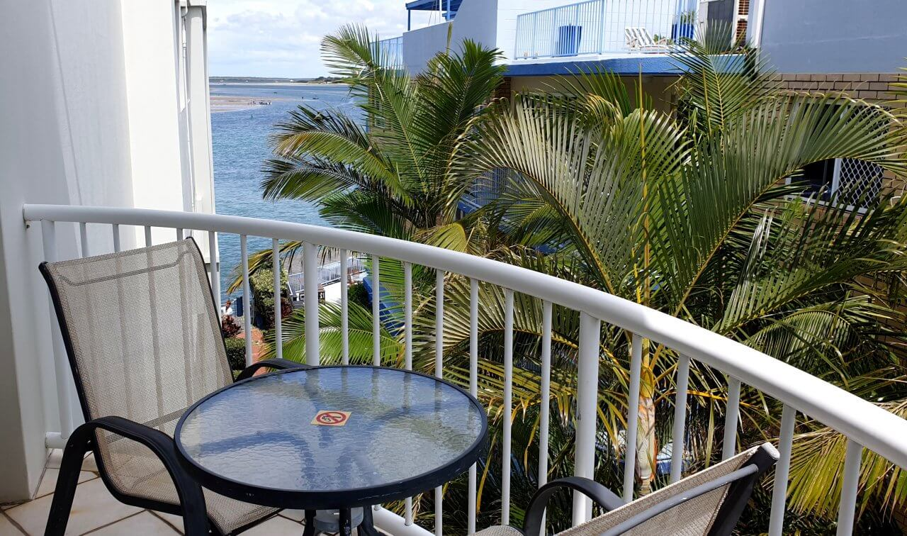 Motel rooms have balconies or patios but usually no water views.